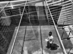 Walking Down The Stairs (veyoung52) Tags: philadelphia dilworthplaza penncenter noiretblanc reflections staircase