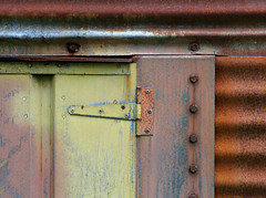 Elements Palette (Doris Burfind) Tags: hinge pink blue abstract colour metal rust paint farm pastel silo bolt weathered corrugated hillsburgh
