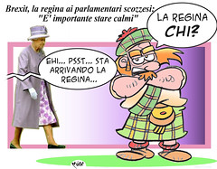 The Queen & the Scots (Moise-Creativo Galattico) Tags: queen vignette satira attualit moise giornalismo scozia elisabettaii editoriali moiseditoriali editorialiafumetti brexit