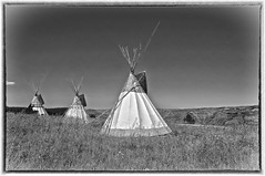 Tee Pees (Phil's Pixels) Tags: bw nativeamerican teepees northeasternoregon nexperce josephcanyon