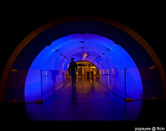 Tunnel Walk (Popeyee) Tags: pictures blue people urban man paris france male modern photo flickr gallery photographer photographie image photos pics walk picture tunnel pic images ladefence gallerie popeyee