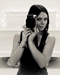 Behind the lens (c_c_clason) Tags: leica portrait blackandwhite selfportrait lights digilux2 fairylights schwarzweiss digilux selfie