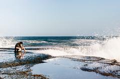 (danielle kiemel) Tags: ocean november sunset sea portrait people selfportrait beach me girl female youth landscape outdoors freedom spring rocks waves photographer power young australia cliffs copacabana nsw alive centralcoast 50mmf14 resilience 2011 likebreathing daniellekiemel onbeingsmallnikon