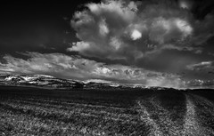 Pennines and Intense Clouds (Joe stockdale) Tags: uk england sky white black monochrome grass clouds intense dramatic valley cumbria fields eden culgaith
