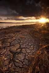 Sun Baked_DSC7496_E (antelope reflection) Tags: sunset sun water utah antelopeisland greatsaltlake cracks utahstatepark
