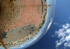Mirror Ball (pixiepic's) Tags: sky clouds reflections rust pavement mirrors blackpool supershot