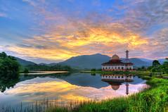 Darul Quran | In Memory (mozakim) Tags: morning blue light sky orange cloud sun lake blur reflection green beauty grass sunshine sunrise landscape mirror ray shine calm rise tranquil hdr zaki 7exps darulquran mozakim