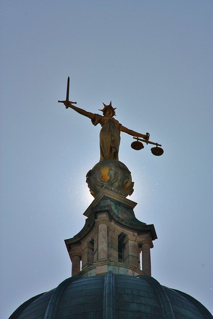 .Lady Justice. atop the Old Bailey, carrying the scales of even-handedness and the sword of punishment, should it be needed. Some remember this as Rumpole's old hangout.