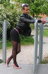 Transvestit Kbenhavn Danmark (Lisa/Anders - Ninja Transvestit Danmark) Tags: pink public outside skirt tgirl tranny transvestite heels tight trans danmark nylon kbenhavn ladyboy transvestit tgirls