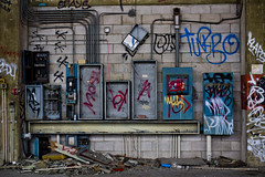 """Lined Up (""""Soup"""") Tags: california west abandoned graffiti words monterey factory space roadtrip tags adventure turbo spraypaint mad exploration trespassing urbex bx electricboxes madk klaps spays oldfortord"""