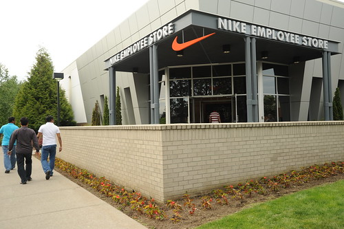 Entrance of the Nike Employee Store, red swoosh, Beaverton, Oregon, USA