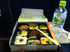 Meals eaten in Japan - Train Bento Box (hope maguire mpi104) Tags: japan trainstation bentobox trainfood mpi104 popularfoods hopemaguire travellingmeals chopsticksandcompartments