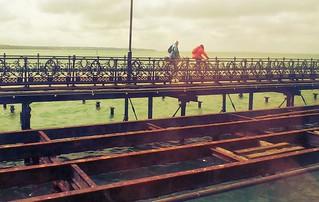 Riding bikes on ryde pier