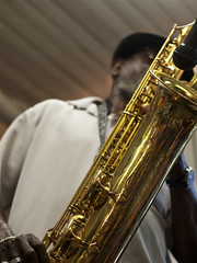 Roger Lewis of the Dirty Dozen Brass Band; diagonal baritone sax detail