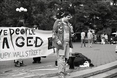 Occupy Wall Street, Union Square Park: 06.01.2012 (triebensee) Tags: park white black june square 50mm 1 nikon f14 union protest 99 nikkor f4 ais 2012 ilfordpanfplus ows occupy bwfp occupywallstreet occupywallstnyc occupywallstreetnyc occupwallstreet