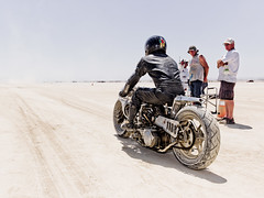 Motorcycle in El Mirage (Johannes Huwe) Tags: 2012 bonneville california chief elmirage h3d h3d39 hdr hasselbald hodrod kalifornien landspeed starter utah blue car cinematic desert dry hotrod lake may motorbike motorcycle motorrad race racing rennwagen saltlake sand hasselblad old event explore explored cool salt flats racer speed speedy medium format land