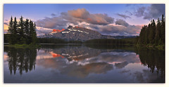 Wishing...Two Jack Lake Sunrise Panorama (carlosmolinaphoto) Tags: panorama sunrise mountrundle banffnationalpark carlzeiss colorcombo twojacklake singhray colorphotoaward carlosmolina nikond3x carlosmolinaphotography distagont50mmf14
