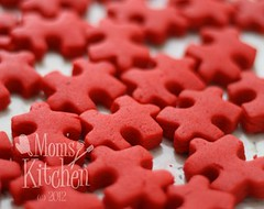 bite size cookie-red puzzle pieces (momskitchen) Tags: blue red orange color green yellow rainbow cookie purple puzzle
