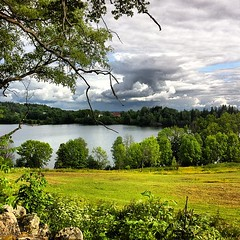 Semsvann (Gry Monica) Tags: trees lake green nature norway clouds square countryside natur squareformat fields skyer landet iphone trr grnn innsj asker semsvann iphoneography instagram instagramapp uploaded:by=instagram