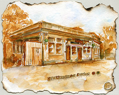 New Utrecht Ave train station in Brooklyn. (Nik Ira) Tags: brooklyn ink watercolor subway drawing ira kuretake waterbrush bijoubox