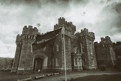 Wet Plate[1] Wray (Ian Livesey) Tags: bw castle monochrome photoshop nt flag wetplate nationaltrust processed windermere southlake wraycastle southlakes