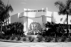 Midcentury MIMO Vagabond Hotel Restoration (Phillip Pessar) Tags: camera bw white black building architecture analog 35mm hotel store florida zoom kodak miami district infinity tx trix fil motel olympus mimo x historic thrift 400 restoration tri 70 midcentury vagabond