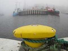 Pole pov (navarrodave80) Tags: yellow misty fog canon dock harbour pole fisheye ustka
