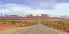 Western Dreams (kirstenscamera) Tags: road blue sunset red arizona cactus sky utah nikon sandstone butte purple roadtrip brush crosscountry monumentvalley mexicanhat buttes indianreservation forrestgump navajotribalpark oldwesterns