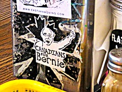 Canadians for Bernie (knightbefore_99) Tags: usa canada art vancouver table restaurant cool support election sticker bc message awesome broadway fair best bernie vote eastvan socialism bons