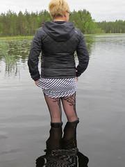 Water getting deeper (jazka74) Tags: lake wet fun boots rubber use gloss hunter wellies