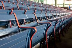Fenway Park (pburka) Tags: park blue boston wooden chair stadium seat numbers fenway ballpark