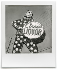 circus liquor. north hollywood, ca. 2016. (eyetwist) Tags: bw white black classic film beer monochrome sign analog america vintage project logo polaroid sx70 typography blackwhite losangeles los neon noho wine angeles circus clown letters icon beta ishootfilm lookup powerlines polkadots spots liquor numbers wires valley 600 signage type booze instant modified analogue 20 roadside streaks gen generation liquorstore impossible evilclown typographic vineland emulsion landcamera northhollywood polaroidsx70 instantgratification circusliquor flaws angeleno testfilm eyetwist generation20 eyetwistkevinballuff impossibleproject signgeeks impossiblebwgen20beta