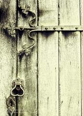 Church Door At Coughton Court (Peter Greenway) Tags: door wood window purple nt decay nationaltrust windowsill purpleflower wisteria churchdoor purplewisteria woodendoor coughtoncourt gunpowderplot