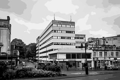 Embassy House (pixelhut) Tags: bristol uk england southwest city urban clifton rain vector lineart vectorart brutalist midcentury concrete triangle