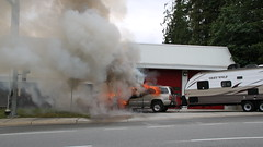 Truck On Fire Driven to Fire Hall. But There's Nobody Home. (bcfiretrucks) Tags: canada news water station truck fire photography hall highway bc smoke flames engine photojournalism columbia canadian surrey hose flame fireman vehicle british camper gmc iaff quint pimper bcpffa