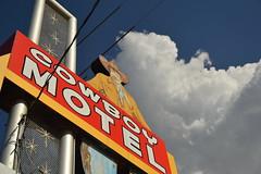 Cowboy Motel and the sky (radargeek) Tags: sky sign clouds route66 cowboy texas tx amarillo signage cowboyhat cowboymotel