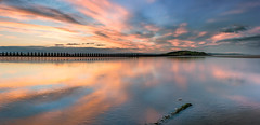 Cramond Island Sunset Panorama (roseysnapper) Tags: antisubmarinedefences cramondisland firthofforth lowtide nikkor1424f28 nikond810 beach calm cloud edinburgh landscape panorama peaceful reflection ripple sand scotland seascape serene sky sunset tranquil water