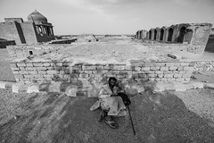 Beggar at the Makli Graveyard, Thatta, Sindh (S. Saqib Shams-II) Tags: sindh pakistan culture bw ancient history