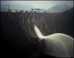 Viet Dam. (gmacmt) Tags: longexposure film water night analog mediumformat dam vietnam 6x7 portra400 pentax67 mopedjourney 105mm24