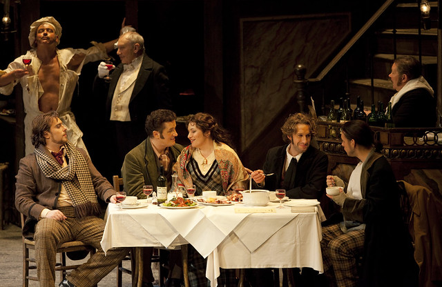 Gabriele Viviani as Marcello, Piotr Beczała as Rodolfo, Hibla Gerzmava as Mimì, Jacques Imbrailo as Schaunard and Kostas Smoriginas as Colline in La Bohème © Johan Persson/ROH 2009