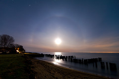 K7_10141 (Bob West) Tags: longexposure nightphotography moon ontario beach night clouds lakeerie greatlakes fullmoon moonlight nightshots magical startrails lightroom k7 moonhalo southwestontario bobwest pentax1224 oldretainingwall april78cvjb