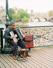 pont des arts, by J L Sinclair (Jelausin) Tags: street paris film architecture 35mm photography spring minolta documentary instrument busker