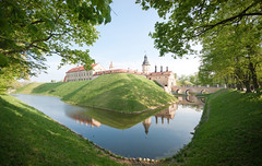 The Castle Of Nesvizh (lemmingby) Tags: reflection building green castle water travels sunny historic trips belarus moat unescoworldheritage nesvizh otherwheres