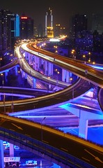Shanghai - Nanbei Elevated Road (cnmark) Tags: china road blue light night geotagged noche highway shanghai expo nacht district an led yan noite  elevated  nuit notte 2010 nachtaufnahme huangpu  yanan nanbei allrightsreserved    mygearandme mygearandmepremium mygearandmebronze mygearandmesilver mygearandmegold mygearandmeplatinum mygearandmediamond ringexcellence dblringexcellence geo:lat=3122544 geo:lon=121464752