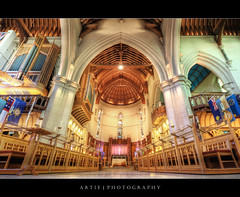 ChristChurch Cathedral, South Island, New Zealand :: HDR (:: Artie | Photography :: Offline for 3 Months) Tags: newzealand christchurch building church photoshop canon cathedral interior wideangle flags southisland 1020mm hdr artie christchurchcathedral cs3 3xp sigmalens photomatix tonemapping tonemap 400d rebelxti