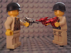 BrickArms Chrome Ray Guns (Corporellicus) Tags: red 2 mystery dark gun ray retro special pack chrome vol brickarms larsfilmtv