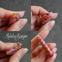 "Pink Lampwork Large Focal Bead with absract fin - Shell effect • <a style=""font-size:0.8em;"" href=""https://www.flickr.com/photos/37516896@N05/7195963894/"" target=""_blank"">View on Flickr</a>"