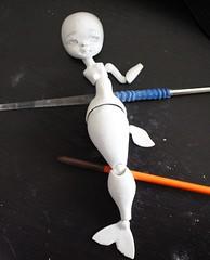 Abyss 17-05-2012 (Le Tama) Tags: work ball doll handmade progress wip homemade tiny bjd mermaid siren abyss sirene jointed plastiroc