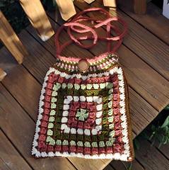 Giant granny square - crocheted handbag (Kiwi Little Things) Tags: purse crocheted handbag grannysquare