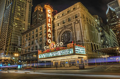 That's Chicago! (Dan Chui (on/off!)) Tags: city longexposure travel sky urban usa chicago motion architecture modern night america buildings shopping geotagged fun lights evening us illinois concert nikon neon glow famous broadway citylife jazz landmark illuminated billboard busy lighttrails nightlife 24mm metropolitan hdr starbursts  chicagotheatre  d700 chicagomarquee